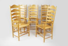 Neville Neale set of eight ladderback ash dining chairs with raffia seats, stamped to the rear