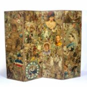 20th Century four folding screen or room divider with decoupage decoration of a Victorian theme,