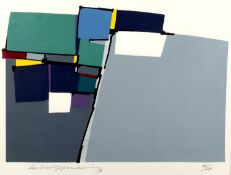 20th Century (Brazilian School) 'Untitled abstract' screenprint, numbered 36/60, signed indistinctly