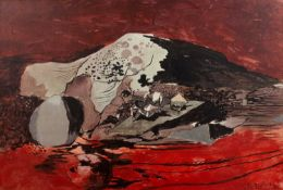 Graham Sutherland (1903-1980) 'Red landscape' print on board, 61cm x 90.5cmCondition report: Display