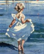 Sherree Valentine Daines (b.1959) 'Walking in the shallows' limited edition canvas print, numbered