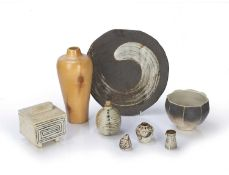 Collection of studio pottery consisting of: June Bean studio pottery yunomi with seal marks to the