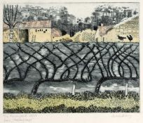 June Berry (b.1924) 'The farmyard from passing days' etching and aquatint, numbered 28/50, signed
