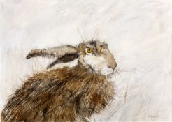 Kate Wyatt (Contemporary) 'Audley (Hare)' mixed media painting, signed lower right, 27cm x