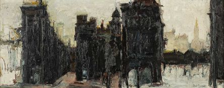 Ronald Copping (b.1929)Cityscape, 1963signed and dated (lower right)oil on board28 x 75cm.