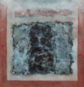 R.W Mountjoy Painting from Monument Series, 1980 inscribed to label (on the reverse) acrylic 10 x