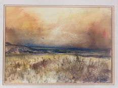 Steve Slimm (b.1953) Landscape with Solitary Buzzard; and Poppy Field both signed watercolours 17