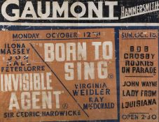 Vintage Film Poster For 'Invisible Agent' and 'Born to Sing' Gaumont Film Studios, Hammersmith 68