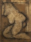 John Emanuel (b.1930) Nude, 1977 signed and dated (to reverse) oil & mixed media 40 x 29cm.Condition
