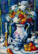 Mary Gallagher (b.1953) Still life signed (lower left) oil on canvas 31 x 22cm.Condition report: The
