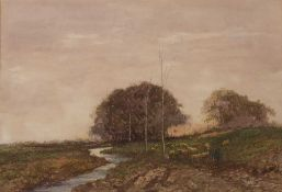 Hutton Mitchell (1872-1939) Shepherd & Sheep by a stream at twilight signed watercolour 38 x 56cm.