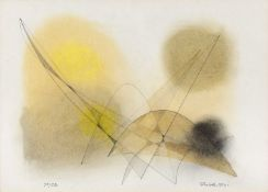 John Wells (1907-2000) 73/3D, 1972 signed, titled, and dated in pencil (lower) mixed media drawing