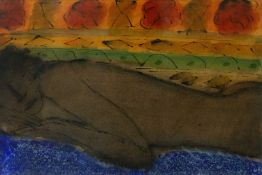 John Emanuel (b.1930) Sleeping Figure signed and dated (to reverse) mixed media 36 x 53cm.