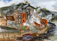 R. Wilson (20th Century) Staithes, Yorkshire, 1984 signed and dated (lower right) watercolour 40 x