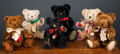 A group of six Hermann teddy bears in various colours, the largest 37cm highCondition report: All