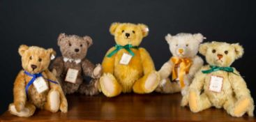 A group of four Steiff British Collectors teddy bears for 2000, 2001, 2003 and 2004, together with a