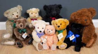 A group of modern teddy bears to include three Canterbury bears; an Eduard Cramer pink furred