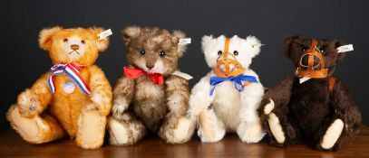 A group of four Steiff replica teddy bears in original boxes, consisting of 'Alice' celebrating