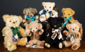 A group of Merrythought teddy bears consisting of three 2012 Olympic Games commemorative bears in