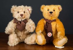 A Steiff limited edition teddy bear with a brown scarf, 35cm high, numbered 10/3000 together with