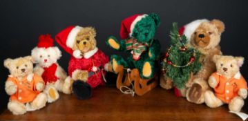 A Hermann Christmas limited edition teddy bear numbered 218/1000, 37cm high together with further