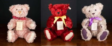 A group of three Steiff British Collectors teddy bears for the years 1997, 1998 and 1999 in original