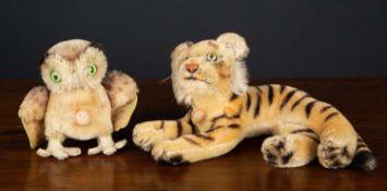 An original Steiff mid 20th century tiger, 25cm wide together with an original Steiff mid 20th
