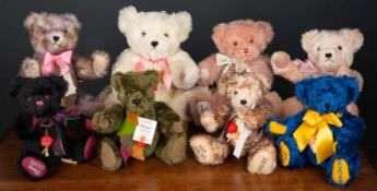 A group of various Hermann teddy bears some limited editions, the largest 43cm high (8)Condition