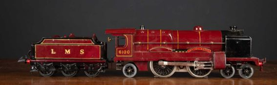 A Hornby O Gauge electric locomotive Royal Scot in a box with a spanner and three lanterns, complete