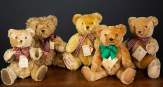 A group of five Hermann teddy bears, four limited editions and a further 'Tradition' bear, the