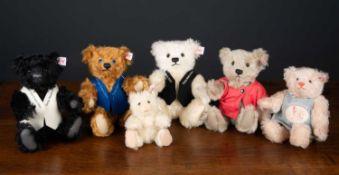 A group of six Steiff teddy bears for the Steiff Club Event teddy bear for the years 2002, 2003,
