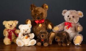 A collection of various modern Steiff teddy bears to include a brown bear, 46cm high; a '