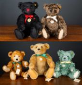 A group of five modern Steiff 'Classic' teddy bears in various styles and from various years, the