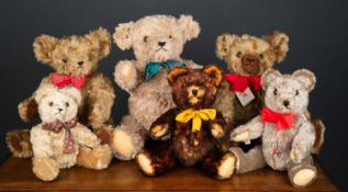 A group of six various modern teddy bears by Clemens, the largest 54cm high, the smallest 30cm high,