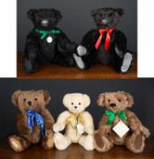 A group of five various teddy bears to include a Deans Ragbook Company Limited bear, numbered 190/