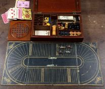 A 19th century walnut cased games compendium to include a die cast lead horse racing game, bone