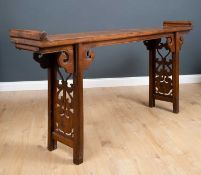 A Chinese hardwood altar table, 198cm wide x 34.5cm deep x 94cm highCondition report: In good