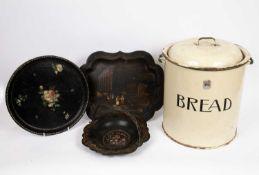 An enamelled bread bin 29cm diameter x 31cm high, a smaller enamelled flour bin and three papier