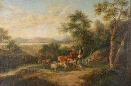 19th century oil on canvas, Country scene with animals in the manner of Franz Xaver Reinhold, 47cm x