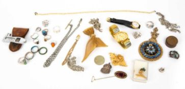 A collection of jewellery and costume items, to include assorted white metal mounted dress rings,