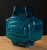 A Whitefriars kingfisher blue TV vase 16cm wide x 17cm highCondition report: In good condition,