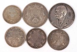 A 1764 Counts of Batthyany Thaler together with a 1789 Counts of Batthyany half thaler, a Georg V of