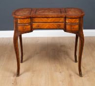 A 19th century style French marquetry dressing table 83.5cm wide x 46.5cm deep x 73.5cm
