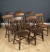 A matched set of eight lath back Windsor kitchen chairs, 88cm high (8)Condition report: At