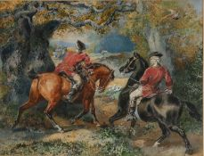 Harden Sidney Melville (1824-1894) Highway men preparing to waylay a coach, watercolour, signed