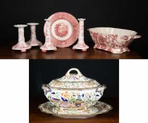An English Chippendale pattern tureen by Johnson Brothers, 42cm wide x 25cm deep x 13cm high; a