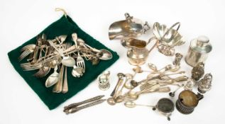 A silver tea canister, together with other silver items to include cutlery and condiments, also a