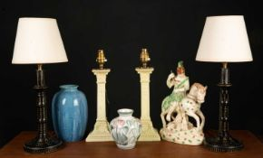 A mixed group of china and lamps to include a Royal Lancastrian blue glazed vase, 19cm in height;