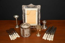 An Edwardian silver picture frame by Henry Matthews, Birmingham 1905, overall 19.5cm x 14cm,