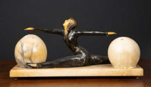 An art deco style alabaster table lamp, 35cm in length x 18cm highCondition report: Cracks to the